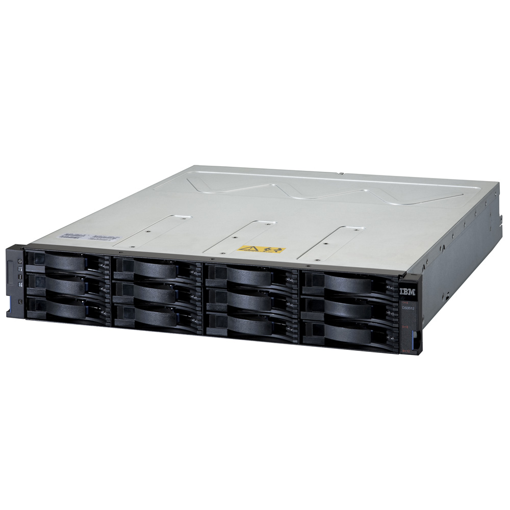 IBM System Storage DS3512 Single Controller (up to 12x3.5  HDDs, 2x6Gb miniSAS host ports, 1GB cache, no daughter card, miniSAS port for EXP3500, pwr supples, fans)