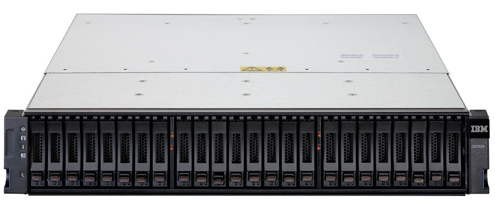 IBM System Storage DS3524 Single Controller (up to 24x2.5  HDDs, 2x6Gb miniSAS host ports, 1GB cache, no daughter card, miniSAS port for EXP3500, pwr supplies, fans)