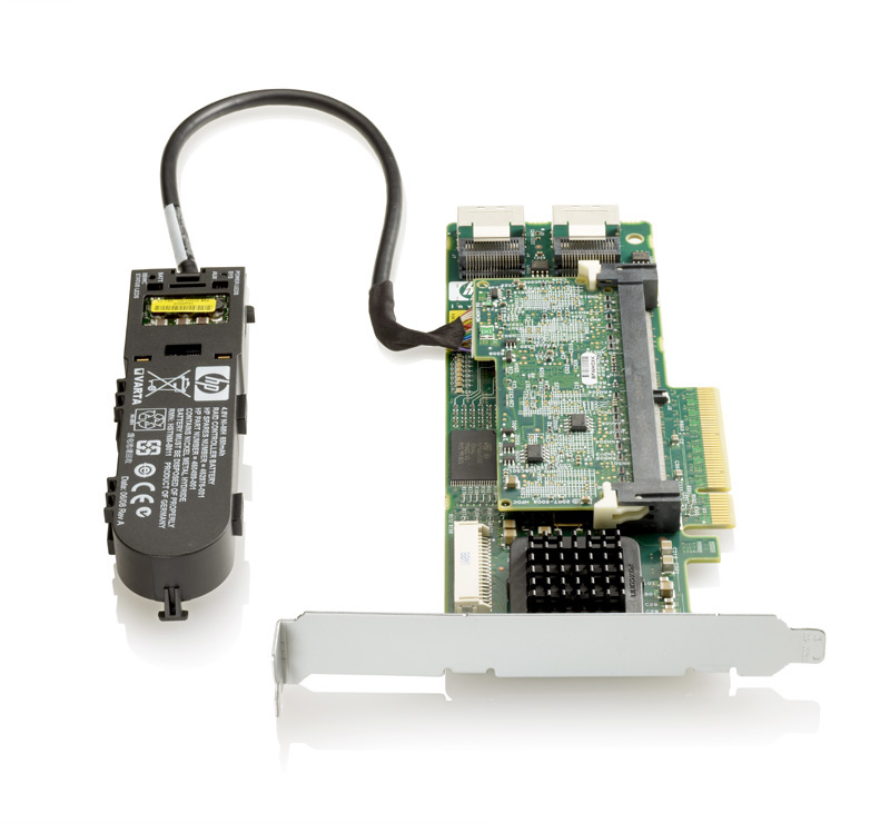 Контроллер HP Smart Array P410, 1GB with Flash BWC Controller RAID 0, 1, 1+0, 5, 5+0 (8 link: 2 int (SFF8087) ports SAS) PCI-E x8, incl. h, h and f, h. brckts