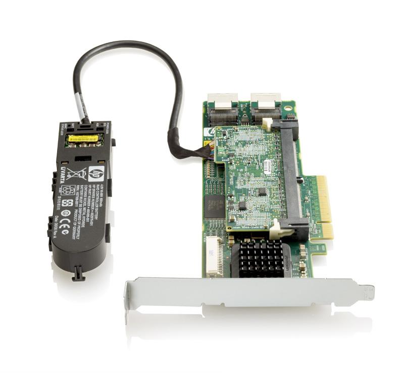 HP Smart Array P410/512 MB with Flash BWC Controller RAID 0/1/1+0/5/5+0 (8 link: 2 int (SFF8087) ports SAS) PCI-E x8, incl. h/h and f/h. brckts
