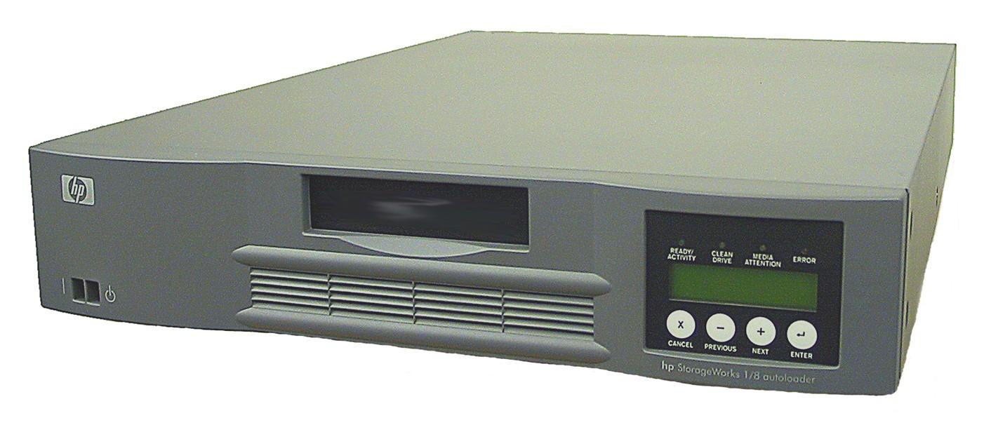 Ленточный автозагрузчик HP StorageWorks Tape Autoloader DAT72 72x10 Ext. (incl. HPOV Data Prot. Single Srv. Edition WinNT/2K/XP, HDCI to VHDCI cabl; 1U Rack, RoHS)