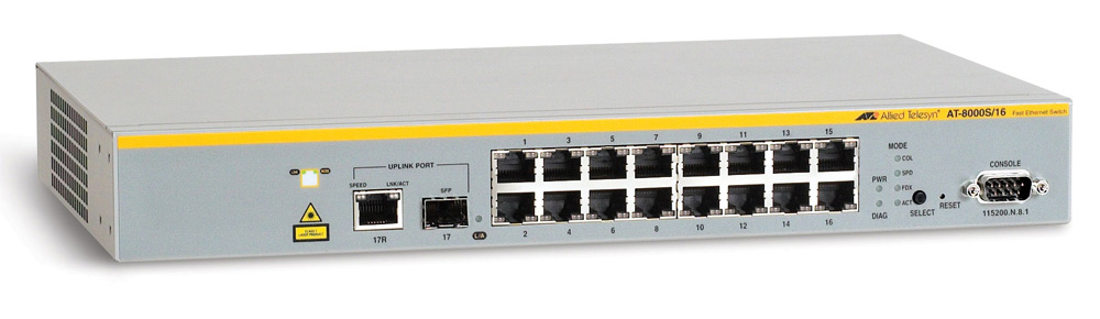 Allied Telesis 16x10/100TX + 1x10/100/1000T or SFP, managed L2, fanless, 19-inch rackmount hardware included