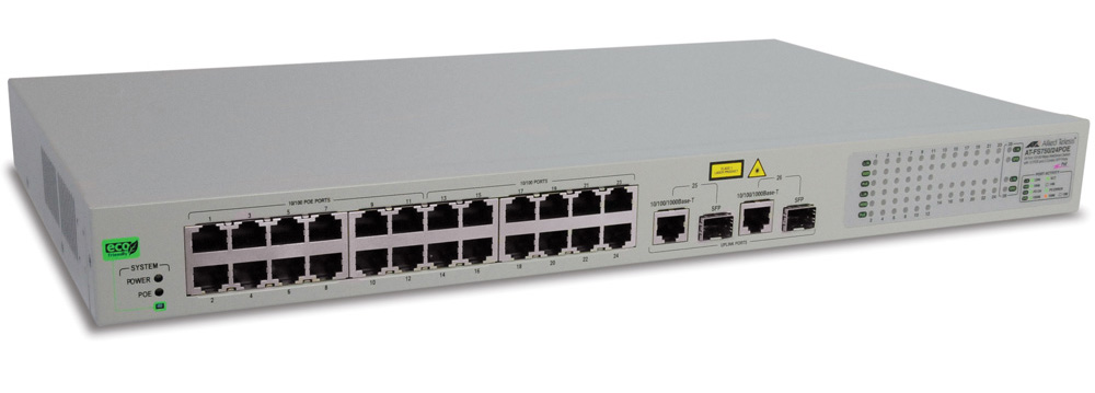Allied Telesis 24 Port Fast Ethernet Smartswitch (Web based) with PoE