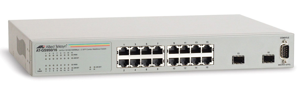 Allied Telesis 16x10/100/1000TX WebSmart switch + 2xSFP (VLAN group, Port Trunking, Port Mirroring, QoS) rackmount hardware included