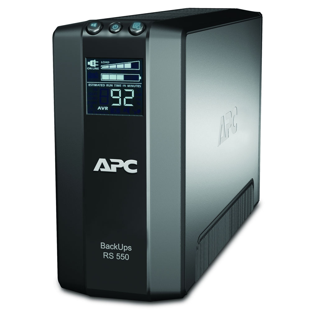 Источник бесперебойного питания APC Back-UPS RS 550VA/330W, 230V, LCD, AVR, 6xC13 outlets (3 Surge & 3 batt.), Data, DSL protection, USB, PCh, user repl. batt., 2 year warranty
