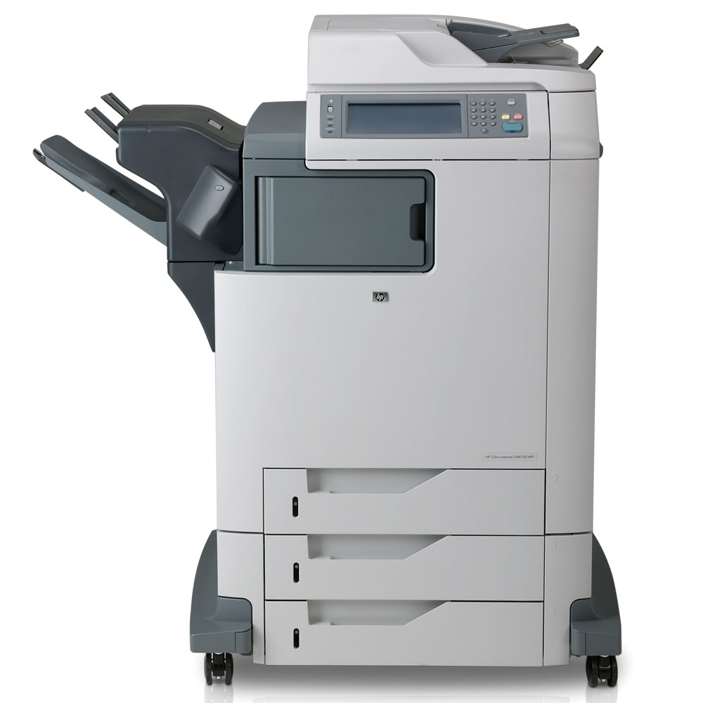 Цветное лазерное МФУ HP Color LaserJet cm4730f MFP (p/c/s/fax, A4, 600x600dpi, 30(30)ppm, 448Mb, 40Gb HDD, 4trays 100+3*500, ADF 50, Parallel/USB/LAN/FIH/EIO, 500-sheet ou