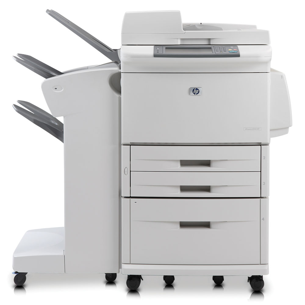 Черно-белое лазерное МФУ HP LaserJet M9040mfp (p/c/s, A3, 40ppm(A4), 1200dpi, 384MB, 80Gb, 4trays 500*2+100+2000, no output tray, Duplex, ADF100, USB/LAN/EIO/Jetlink/FIH, PS, replace Q3726