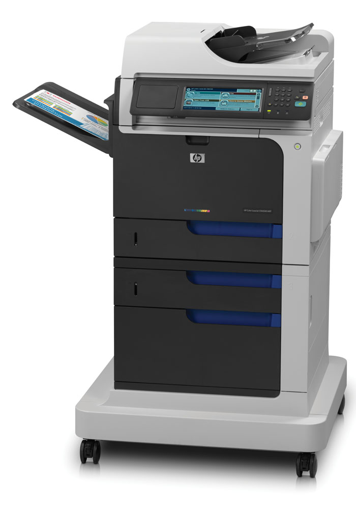 Цветное лазерное МФУ HP Color LaserJet Enterprise CM4540f MFP   (p/c/s/f, A4, 600x600dpi, 40(40)ppm, 1280Mb, HDD, 3trays 100+2*500, cabinet, stand, ADF50, Duplex, USB, LAN, FIH, EIO, replace CB481A)