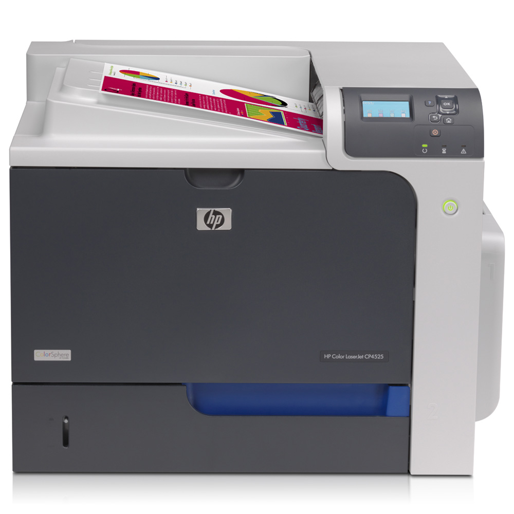 Цветной лазерный принтер HP Color LaserJet Enterprise CP4525n Printer (A4, 1200dpi, 40(40)ppm, 512Mb, 2trays 500+100, USB/LAN/EIO, replace Q7492A and Q7491A and CB503A)