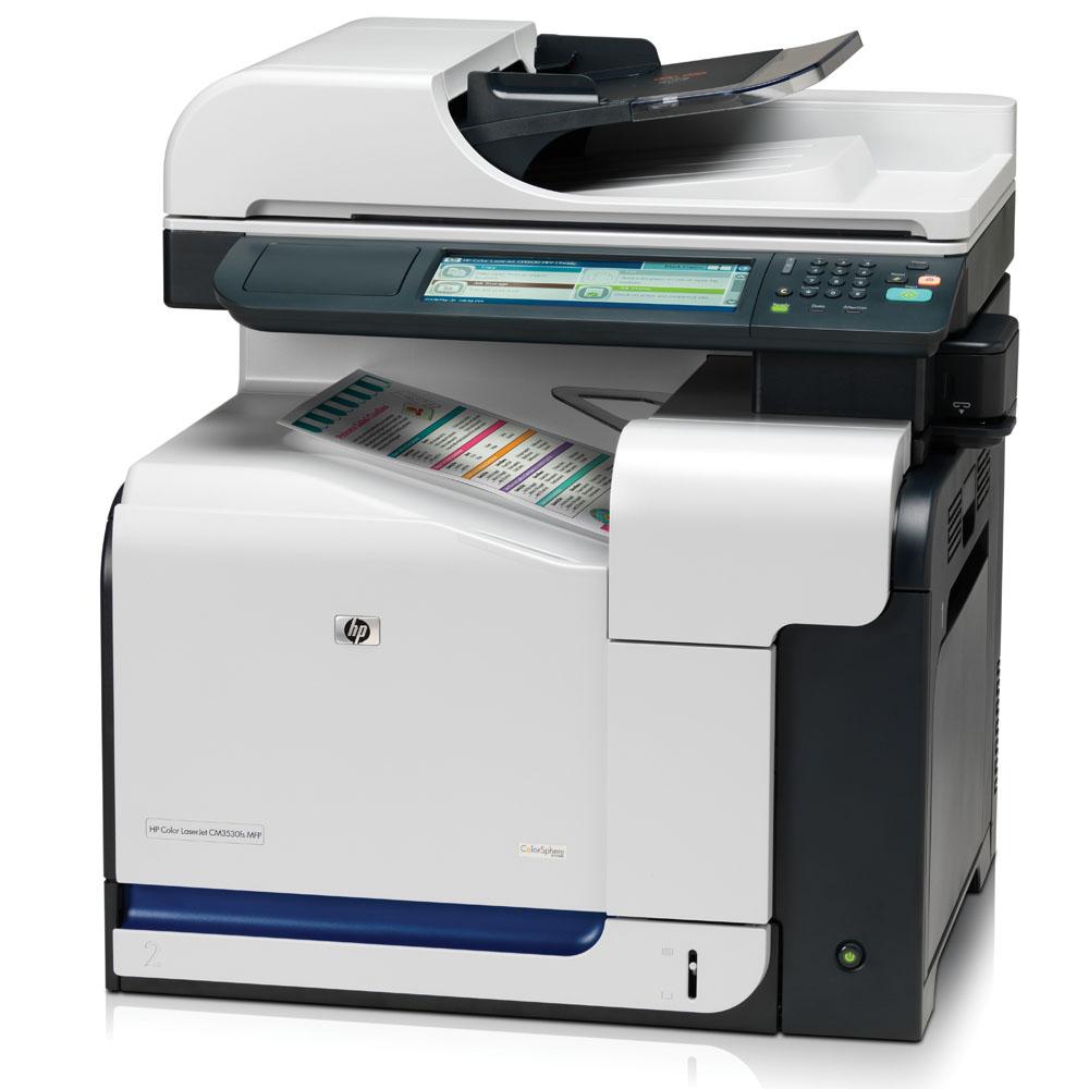 Цветное лазерное МФУ HP Color LaserJet CM3530fs MFP (p/s/c/f, A4, 600x600dpi, 30(30)ppm, 512 Mb, 80 Gb, 2 trays 100+250, Stapler, ADF50, Duplex, USB/LAN/EIO)