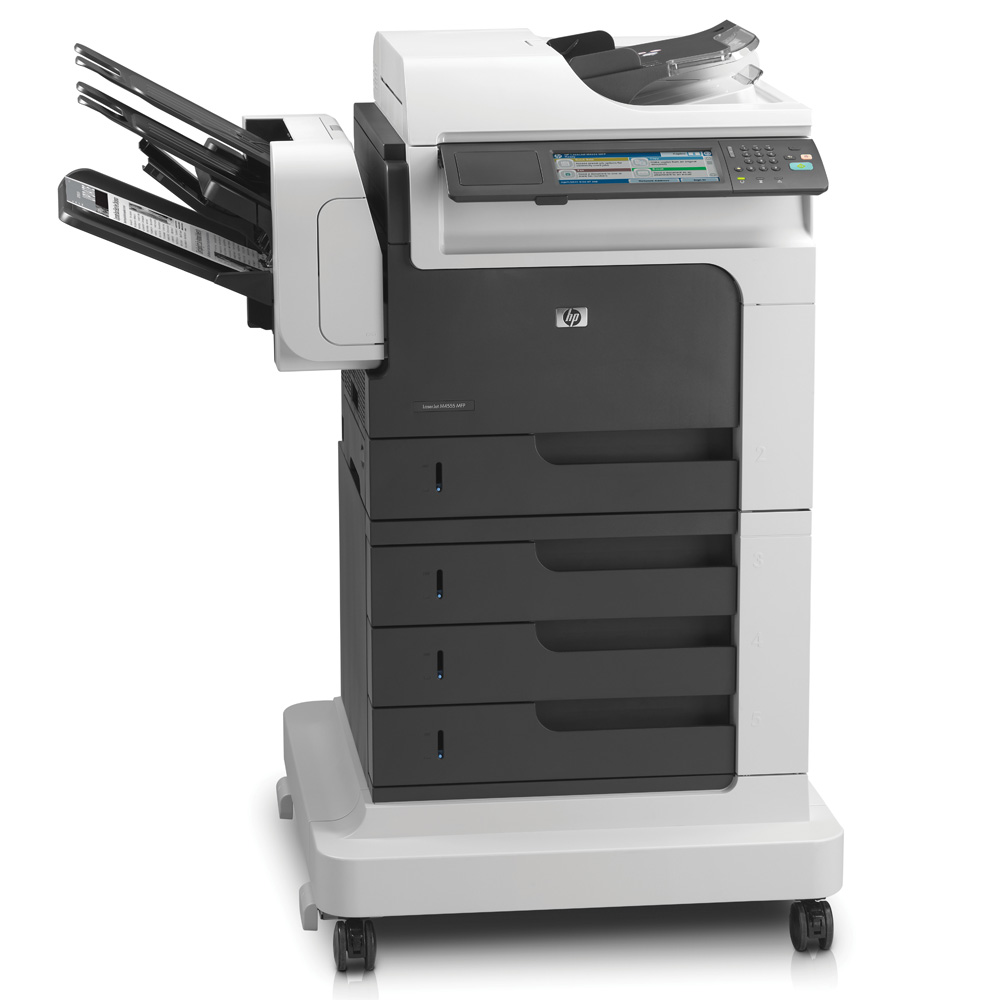 Черно-белое лазерное МФУ HP LaserJet Enterprise M4555fskm MFP (p, c, s, f,1200dpi,52ppm,1280Mb,120Gb Encrypted HDD,5 trays 100+4*500,Stand,900 sheet 3-bin stapling Mailbox,ADF50,Duplex,USB, LAN, FIH, EIO,replace CB427A,CB428A)