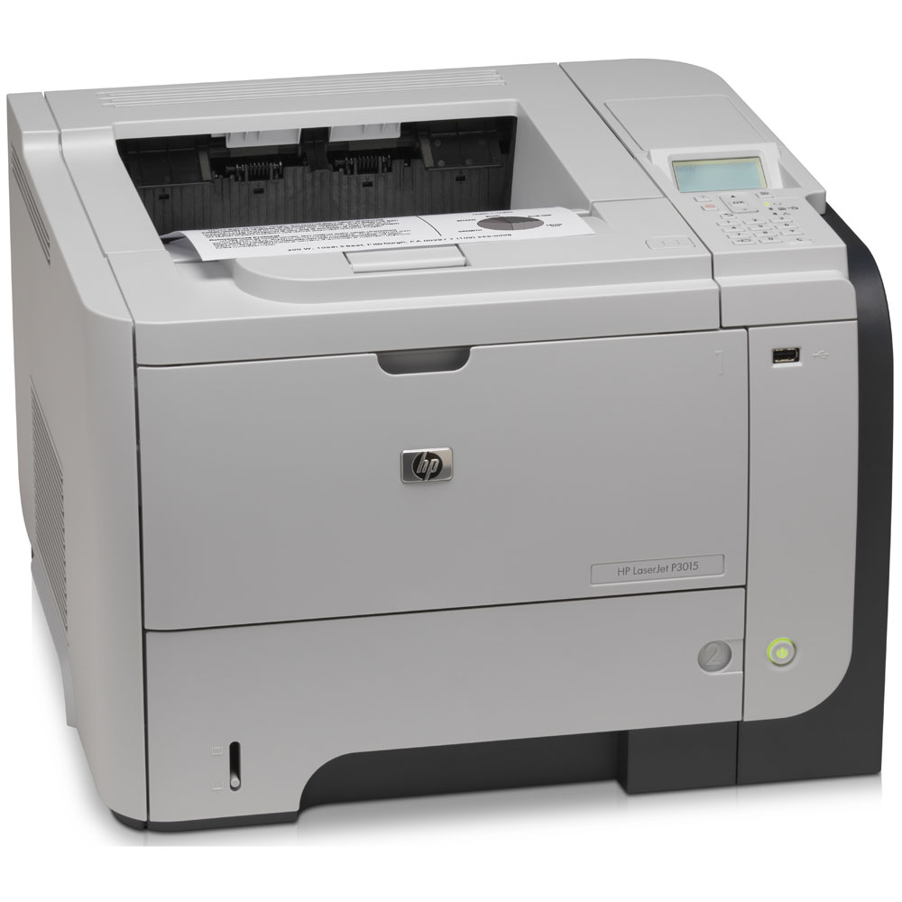 Черно-белый лазерный принтер HP LaserJet Enterprise P3015dn   (A4, 1200dpi, 40ppm, 128Mb, 2trays 100+500, USB/GigEth/EIO, Duplex, replace CE528A)