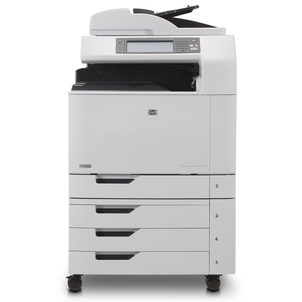 Цветное лазерное МФУ HP Color LaserJet CM6030 MFP   (p/s/c, A3, 3trays 500*2+100, output tray 500, 30/30ppm(A4), Duplex, ADF50, 1200x600dpi, 512MB, 80Gb, USB/EIO/FIH/LAN/PCI-E, PS)