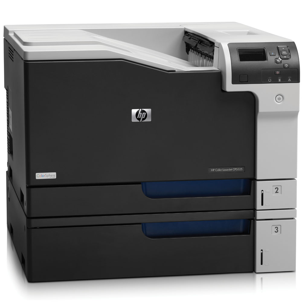 Цветной лазерный принтер HP Color LaserJet Enterprise CP5525n Printer (A3, 600dpi, 30(30)ppm, 1Gb, 3trays 100+250+500, USB, LAN, replace Q3713A, Q3714A)