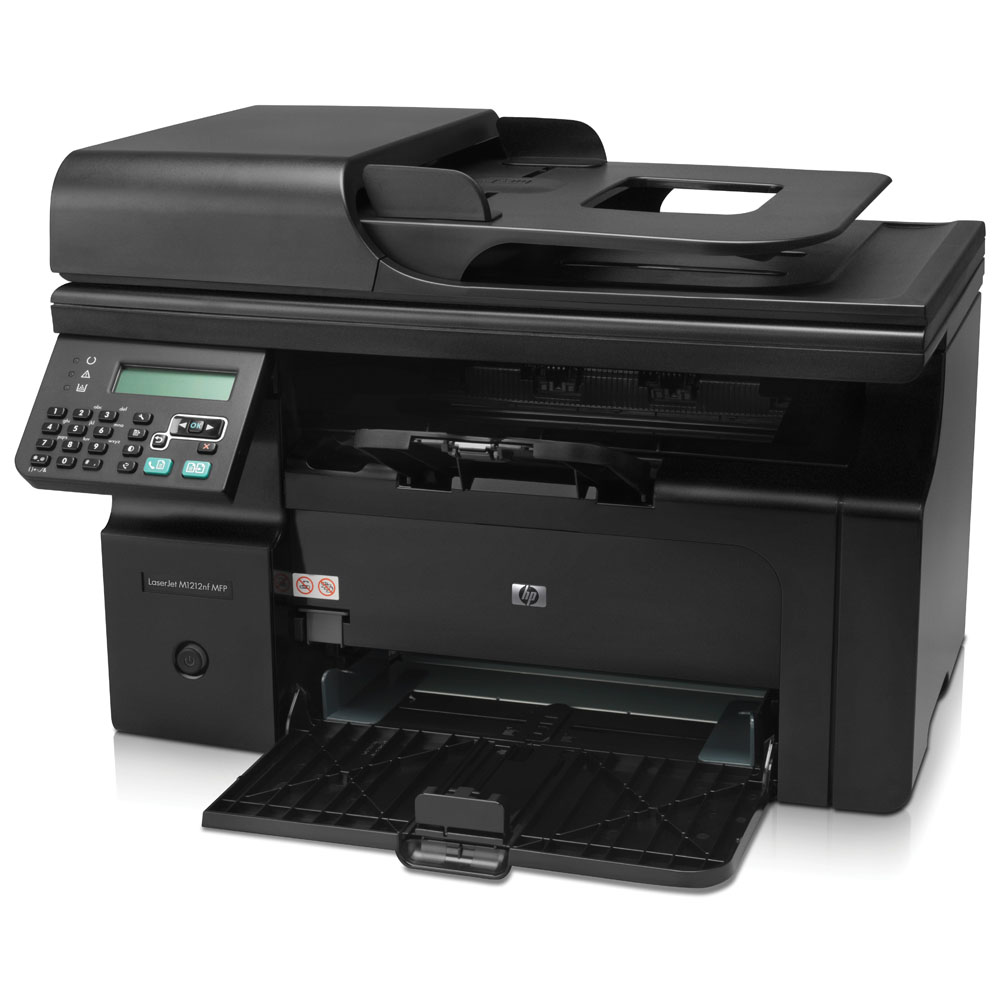 Черно-белое лазерное МФУ HP LaserJet Pro M1212nf MFP (printer/copier/scanner/fax, A4, 1200dpi, 18ppm, 64 Mb, 1 tray 150, ADF 35 sheets, USB, LAN, Flatbed, black, Cartridge 700 pages in box, replace CB459A)