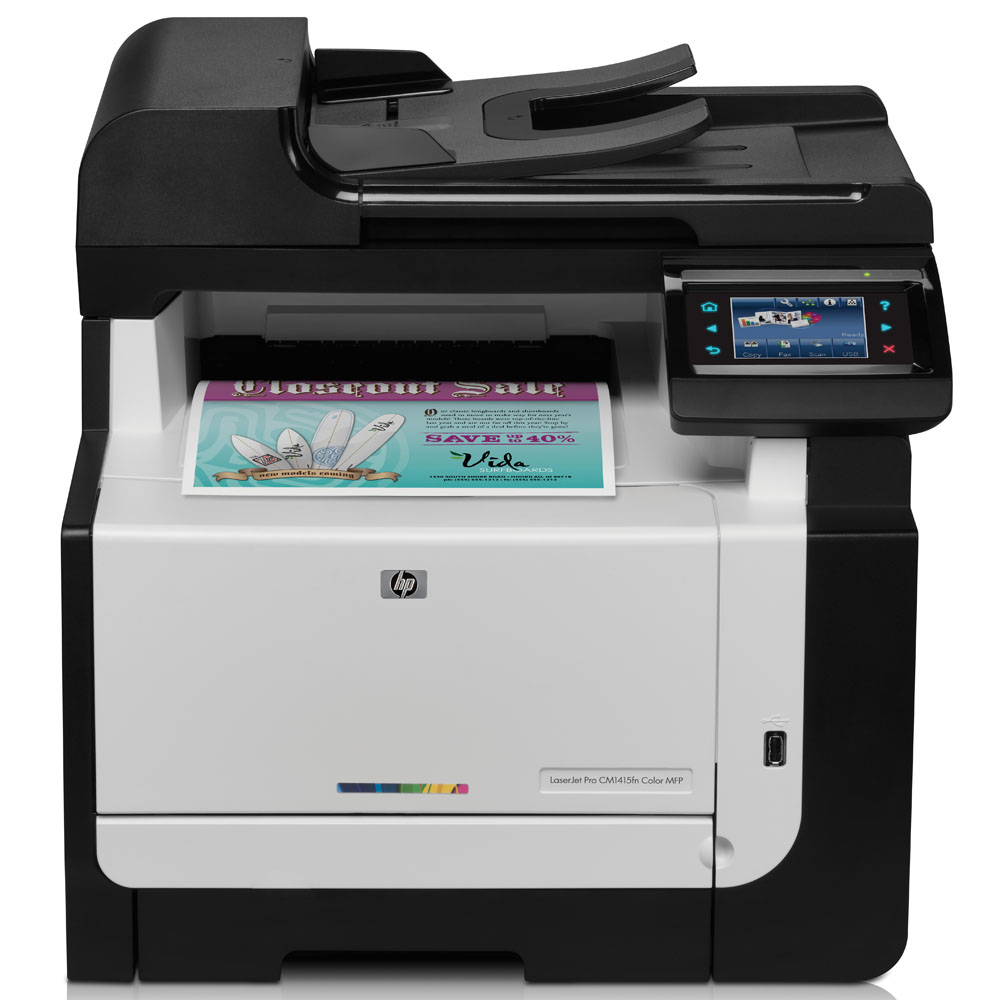Цветное лазерное МФУ HP Color LaserJet Pro CM1415fn MFP   (p/c/s/f, 600x600dpi, ImageREt3600, 8(12) ppm, 160Mb, ADF35 sheets, tray150, USB, LAN, 4Cartriges750pages in box, replace CC431A)