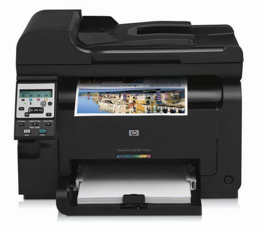 Цветное лазерное МФУ HP LaserJet Pro 100 Color MFP 175nw (p/c/s, A4, 2400dpi, 16/4ppm, 128 Mb, 1 tray 150, ADF 35 sheets, USB/LAN/WiFi, Flatbed, black, PS, ePrint, 4 Cartridges 500 pages&USB cable 1m in box)