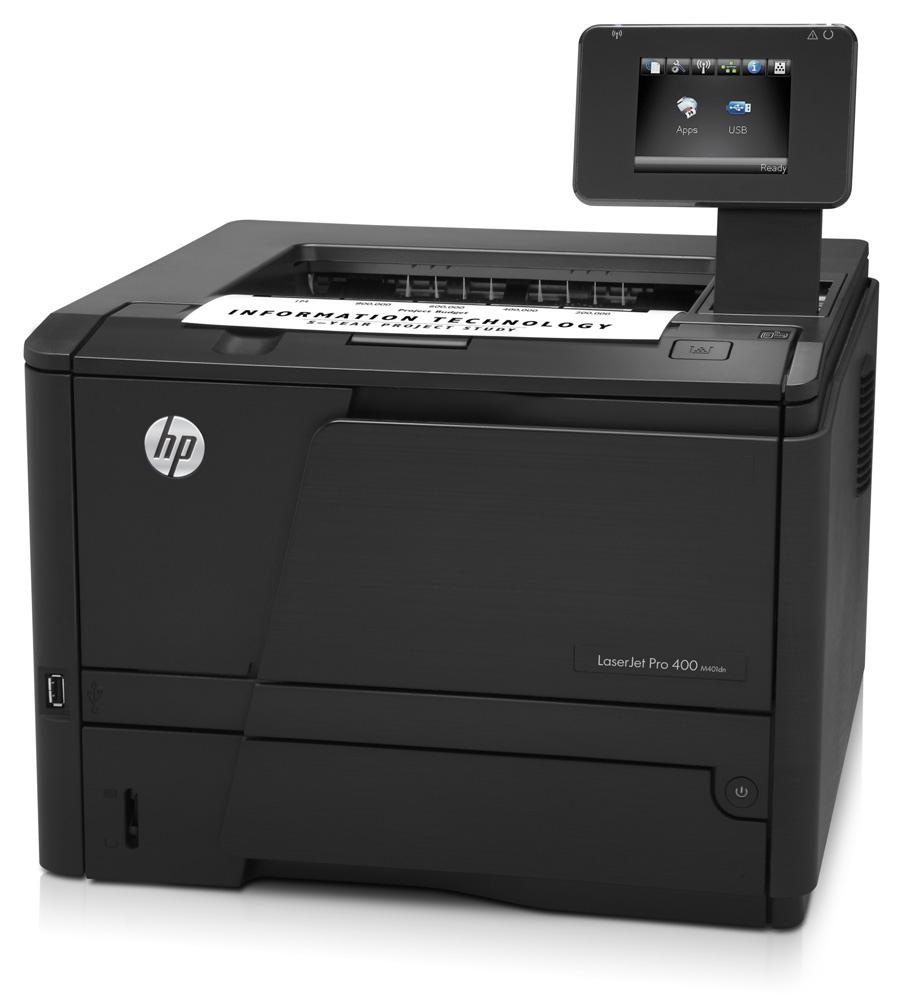Черно-белый лазерный принтер HP LaserJet Pro 400 M401dn (A4, 1200dpi, 33ppm, 256Mb, 2tray 250+50, USB2.0+Walk-Up, GigEth, Postscript3, ePrint, AirPrint, color TS, cartridge 2700pages in box, Smart Install, repl. CE459A)
