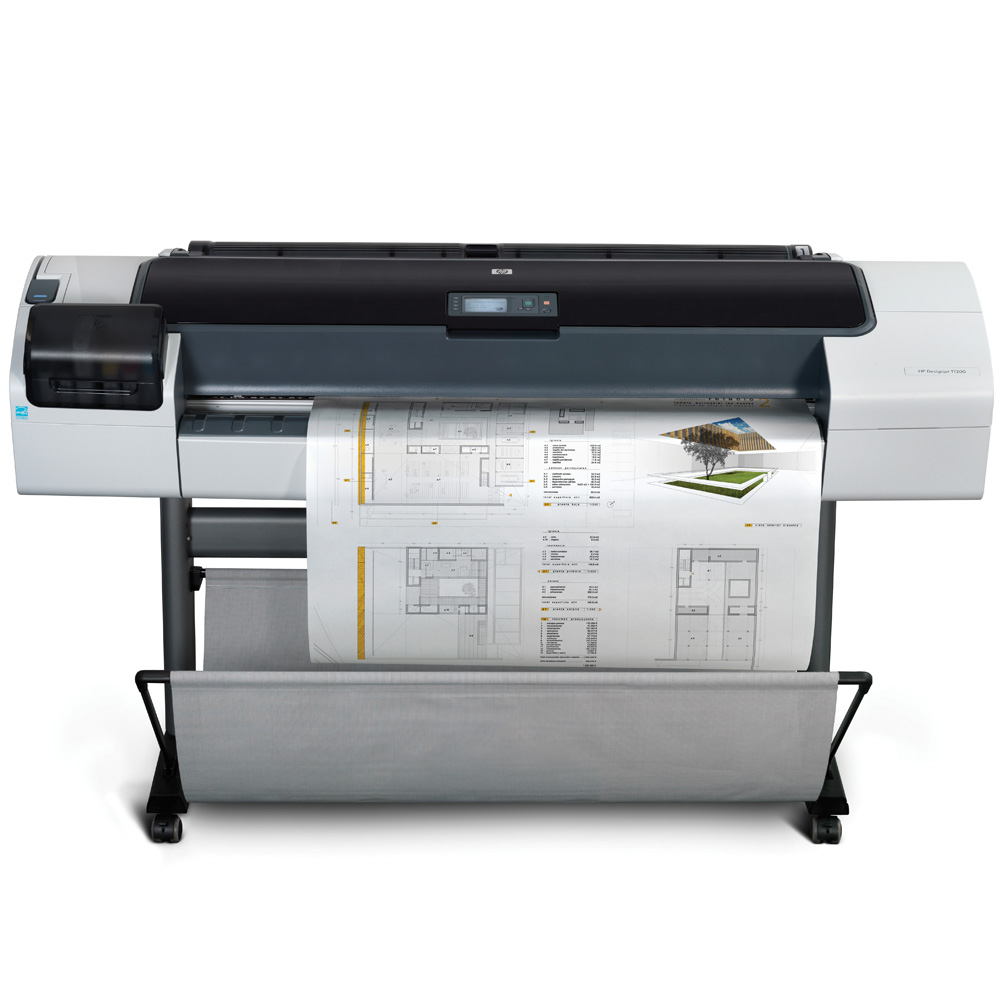 Широкоформатный принтер (плоттер) HP Designjet T1200 (44-inch, 2400x1200dpi, 32Gb, HDD160Gb, USB/GigEth/EIO, stand, sheet feed, 2 roll feed, autocutter, 6 cartridge/3 head, 2y war, repl. CK839A)