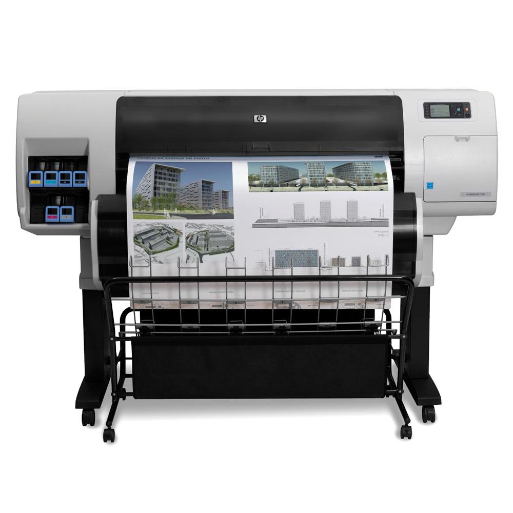 Широкоформатный принтер (плоттер) HP Designjet T7200 Production Printer (42-inch, 2400x1200dpi, 123,3 m2/h, 64GB, 320GB, stand, 2 rolls, bin, 6 cartridges/4 heads, Gbit Eth/USB/EIO repl. CQ105A)