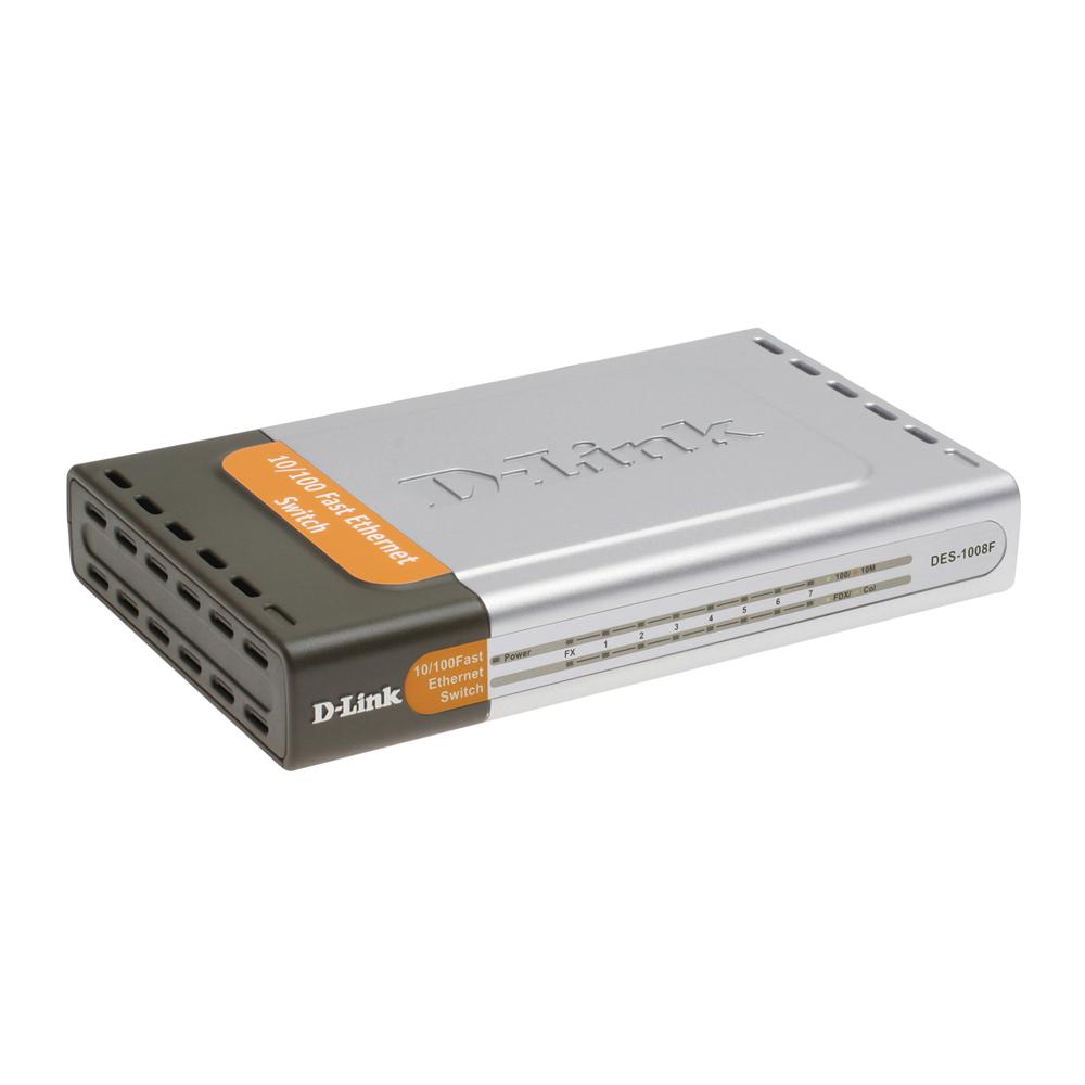 D-Link DES-1008F, Unmanaged Standalone Switch, 7x10, 100M + 1x100Base-FX SC Multi-Mode Fiber