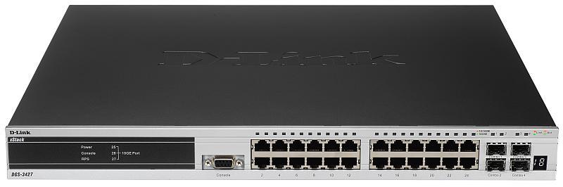 D-Link DGS-3427, L2+ Stackable Management Switch, 24-port Gigabit, 4 Combo SFP, 3 slots for optional 10GE modules