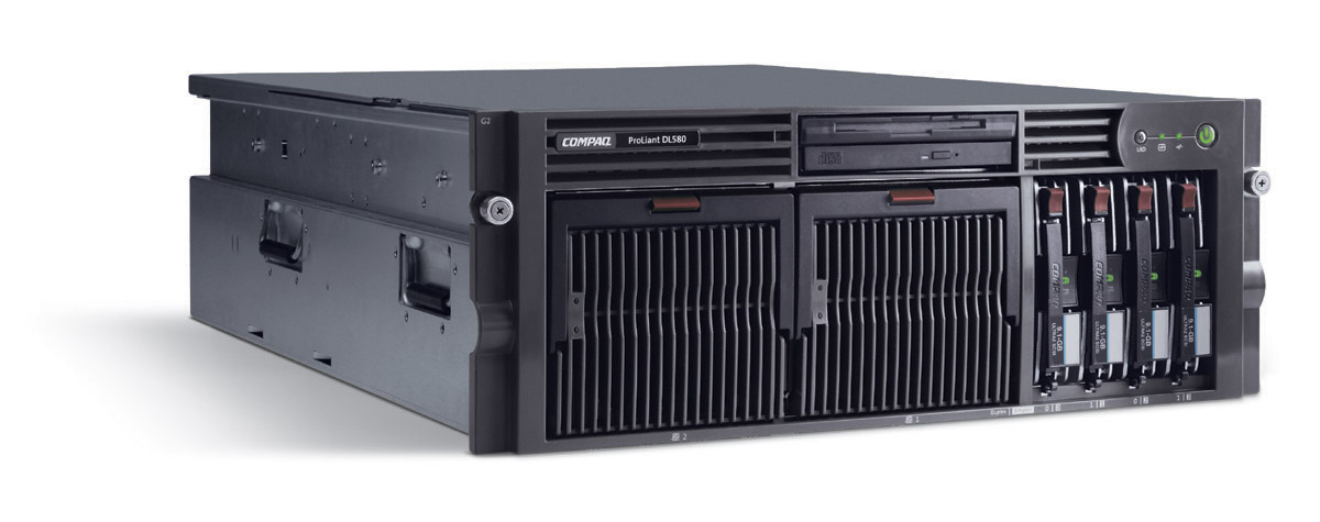 Сервер HP ProLiant DL580 G2 Server XeonMP-2.0/1Mb,   1Gb PC1600/200MHz, Ultra3-SCSI (max. 4x300Gb), HP, 6/5 PCI, SA5i, CD, FDD, Dual Gigabit NIC, 4 Units