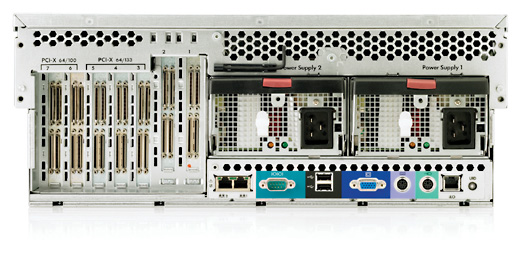 Сервер HP ProLiant DL580 G3 Server XeonMP-2.83/4Mb/667MHz, 1Gb PC2-3200R/400MHz, Ultra320-SCSI (max. 4x300Gb), SA6i, HotPlug, 7/7 PCI, DVD, noFDD, Dual Gigabit NIC, 4 Units