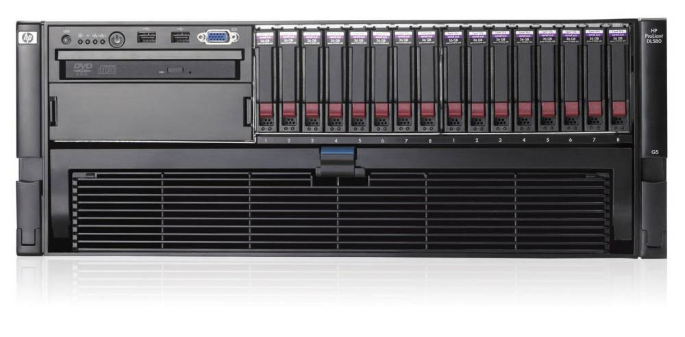 Сервер HP ProLiant DL580 G5 Server   X2.13 4-Core SAS (2xE7430-12mb, 4x1Gb(16DIMM Slots), no SFFHDD(8, 16), RAID(P400 256Mb), 2xGigNIC, DVD, noFDD, 2xHPRPS, iLo2Std)