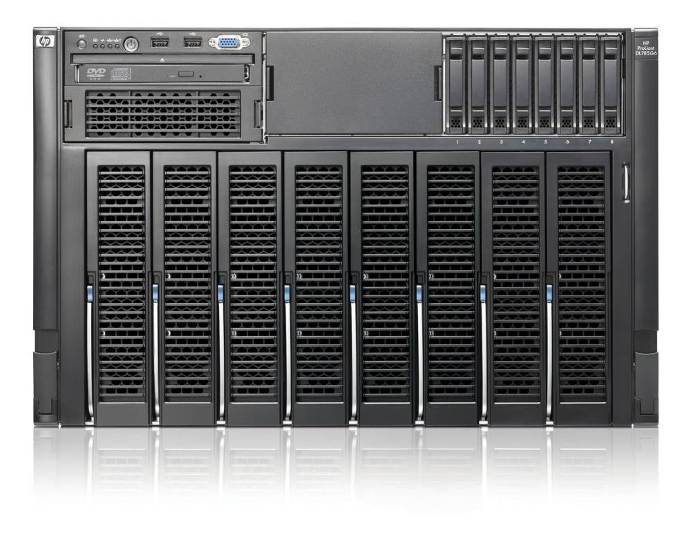Сервер HP ProLiant DL785 G6 Server 8439SE (7U 4xOptSC 2.8Ghz(6Mb), 16x4Gb6400, no SFFHDD(8, 16up), RAID P400iwBBWC(512Mb), 2xGigEth MF, DVDcombo, iLO2std, 6xRPS)
