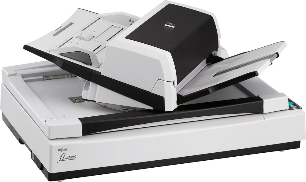 Сканер Fujitsu fi-6750S, цветной, планшетный, односторонний, 55 стр., мин, ADF 200, USB 2.0, A3