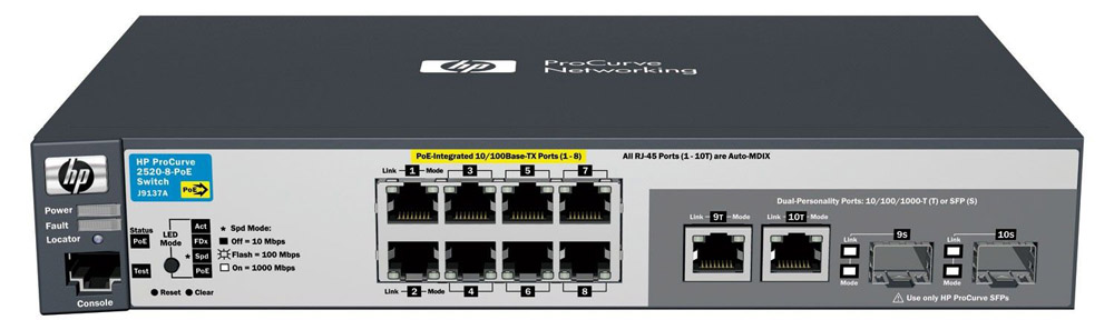 Коммутатор HP ProCurve Switch 2520-8-PoE   (8 ports 10/100 PoE + 2 10/100/1000 or 2 SFP, Managed, Layer 2, Fanless design)