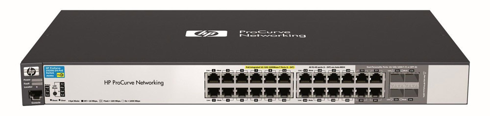 Коммутатор HP ProCurve Switch 2520G-24-PoE (20 ports 10/100/1000 PoE + 4 10/100/1000 PoE or 4 SFP, Managed, Layer 2, Stackable 19')