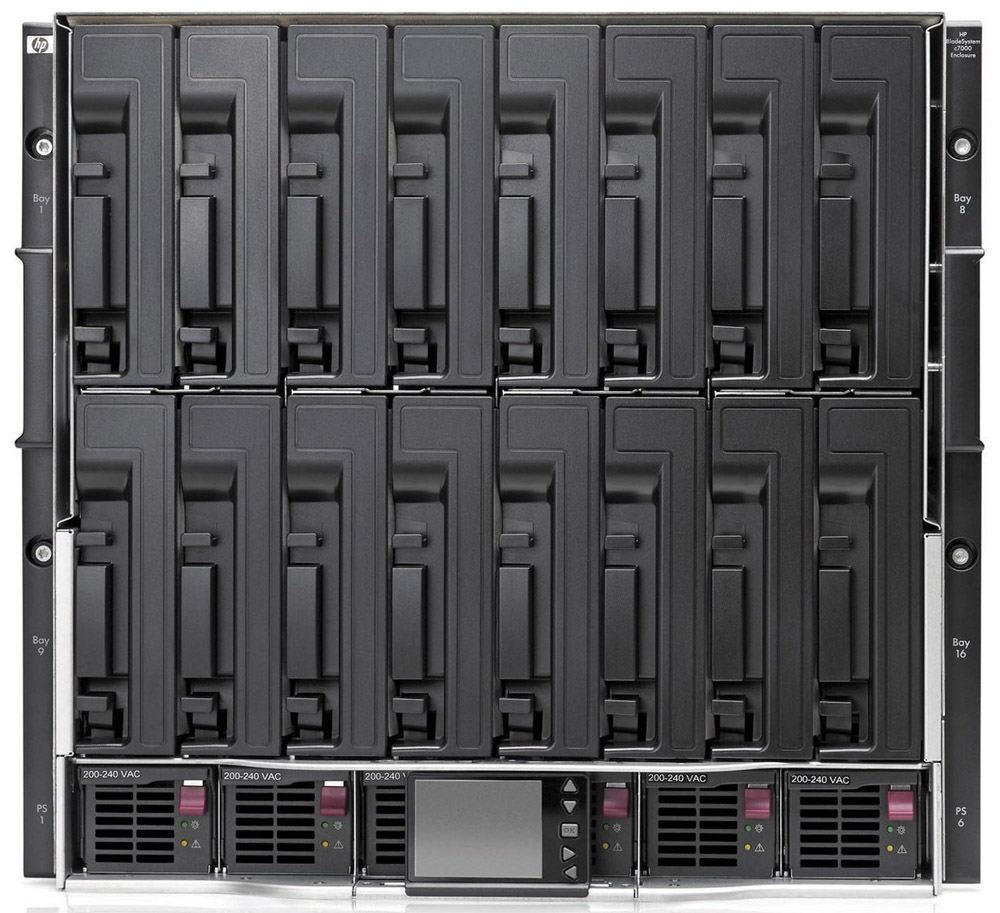 HP BladeSystem c7000 Enclosure, Single-Phase with 2 Power Supplies, 4 Fans with 8 Insight Control Environment 30 Day Trial Licenses