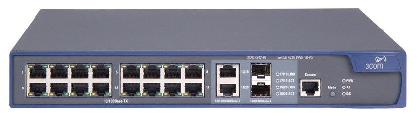 Коммутатор HP E4210-16-PoE Switch (16x10, 100 PoE + 2x10, 100, 1000 or SFP, Full Managed L2 , ACLs, Clustered Stack, PoE 123W)(eq.3CR17342-91)