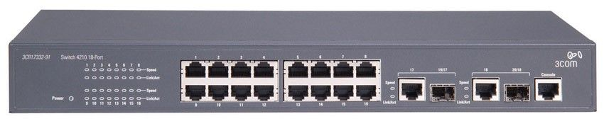 Коммутатор HP E4210-16   Switch (16x10, 100 + 2x10, 100, 1000 or SFP, Full Managed L2 , ACLs, Clustered Stack, Fan-less)(eq.3CR17332-91)