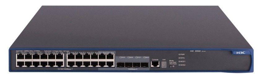 Коммутатор HP E5500-24   Switch (24x10/100 RJ-45, 4xGigabit SFP; Managed, L3, Stackable, 19'XRN)(eq.3CR17161-91)