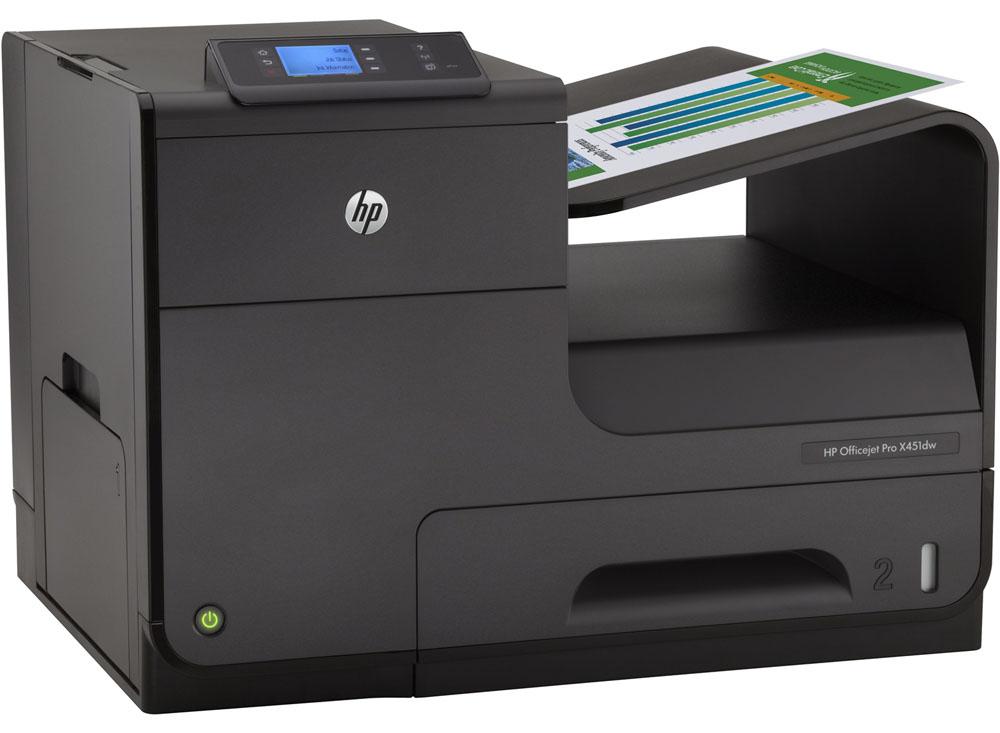 Цветной струйный принтер HP Officejet Pro X451dw Printer (A4, 600(2400dpi), 36(36 up 55)ppm, Duplex, 2trays 50+500, USB2.0/GigEth/WiFi, cartriges 2500ppm, 1y war)