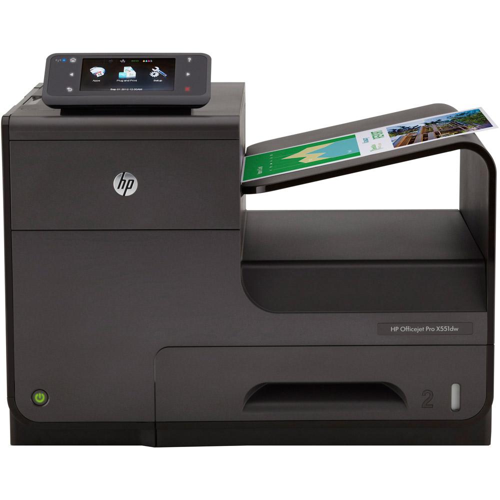 Цветной струйный принтер HP Officejet Pro X551dw Printer (A4, 600(2400dpi), 42(42 up 70)ppm, Duplex, 2trays 50+500, USB2.0/GigEth/WiFi, cartriges 2500ppm, 1y war)