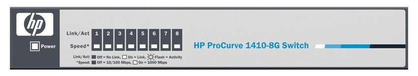 Коммутатор HP ProCurve 1410-8G Switch (8 ports 10/100/1000, Unmanaged, Fanless design, desktop)(instead of J9077A#ABB)