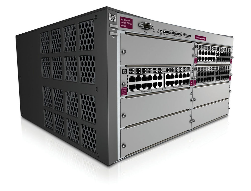 Шасси HP ProCurve Switch 5308xl-48g   5U (3 slots 14x10/100/1000 + 2 mini-GBIC, 5 open slots, 76.8Gb/s)