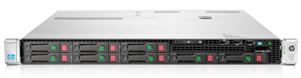 Сервер HP ProLiant DL360p Gen8 Server   E5-2640v2 Rack(1U), 1xXeon8C 2.0GHz(20MB), 2x8GbR1D_12800(LV), P420i(1Gb, RAID0, 1, 10, 5, 50), noHDD(8)SFF, noDVD(opt.), iLO ME, 4x1GbFlexLOM, EasyRK, 1x460Plat+(2up)