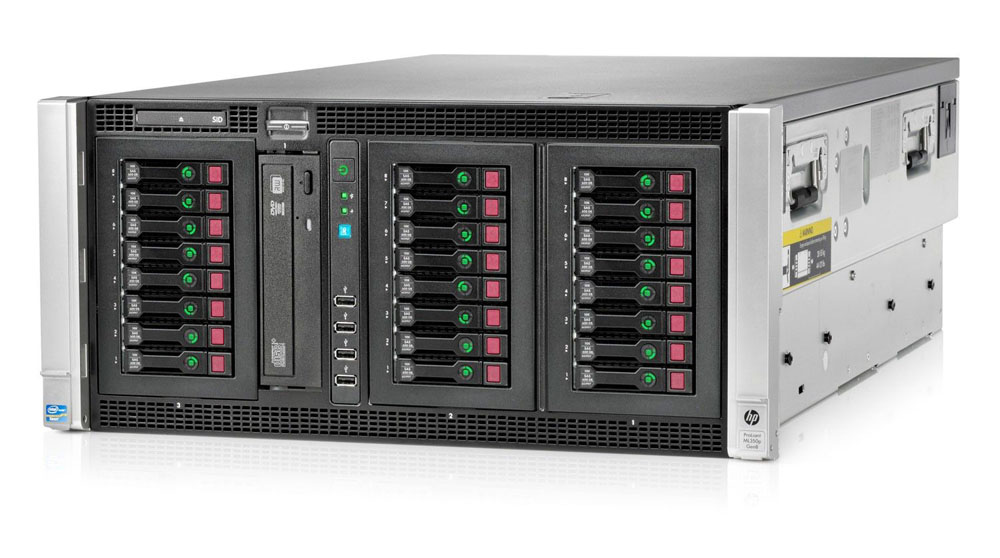 Сервер HP ProLiant ML350p Gen8 Server   Rack (5U), 2 x Intel Xeon E5-2640 (2.50GHz/6-core/15MB/7.2GT-s QPI/95W, DDR3-1333, HT, Turbo2- 3/3/4/4/5/5) Processors, RAM 4x4Gb Registered DIMMs, RAID P420i with 2Gb FBWC (RAID 0/1/1+0/5/5+0), SAS/SATA HotPlug SFF Drive Cage (max 8/24upgr SFF HDD), DVD-RW, iLO4 ME, 4x1Gigabit Ethernet, 4xFan, 2xRPS 750Watt Platinum