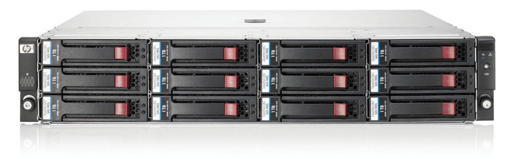 HP StorageWorks D2600 LFF Disk Enclosure (2U; up to 12x 6G SAS or 3G SATA drives, 2xI/O module, 2xfans and power supplies, 2x0, 5m miniSAS cables)