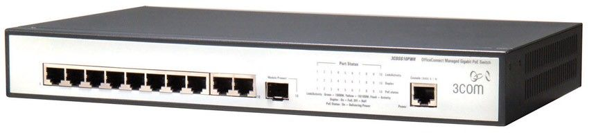 Коммутатор HP 1905-10G-PoE   Switch (9 ports 10/100/1000 RJ45 + 1x1000 RJ45, SFP, PoE 62Wmax, managed L2, 19')(eq.3CDSG10PWR)