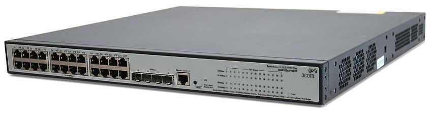 Коммутатор HP 1910-24G-PoE (365W) Switch 28-Port (24x10/100/1000 RJ-45 + 4xSFP Web, PoE 365W, SNMP, L3 static, single IP management up to 32 units, 19') (eq.3CRBSG28HPWR93)