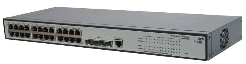 Коммутатор HP 1910-24G   Switch 28-Port (24x10/100/1000 RJ-45 + 4xSFP Web, SNMP, L3 static, single IP management up to 32 units, 19') (eq.3CRBSG2893)