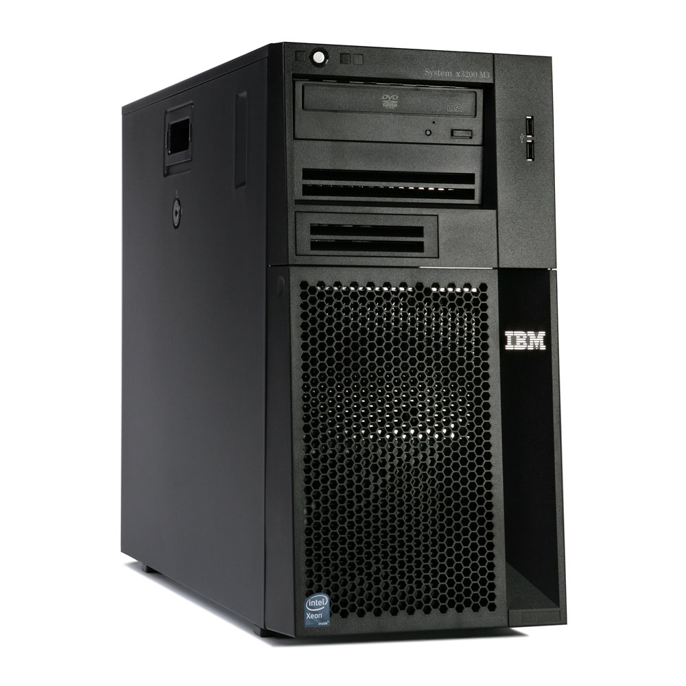 Сервер IBM System x3200 M3 Server   Tower; Intel Xeon X3430 Quad Core 2.40 Ghz Processor with L2 cache 8MB FSB 1333MHz; RAM 1x2048MB PC2-10600 DDR3 SDRAM ECC; Up to 4 3.5'' Hot-Swap SAS/SATA HDDs; HDD Open Bay; Integrated SATA/SAS controller; ServeRAID-BR10il SAS/SATA Controller; Power 1 x 401 Watt fixed; Multiburner drive; No FDD; Gigabit Ethernet