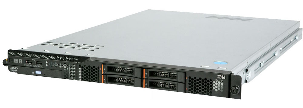 Сервер IBM ExpSell System x3250 M3 Server   M3 Rack 1U Xeon X3450 4C (2.67GHz, 8MB), 2x2GB UDIMM, no 3.5  HS HDD (up to 2), BR10il v2 (Raid 0, 1, 1E), 2xGbE, DVDRW, 1x351W Fixed PS (ранее 4252PBG)