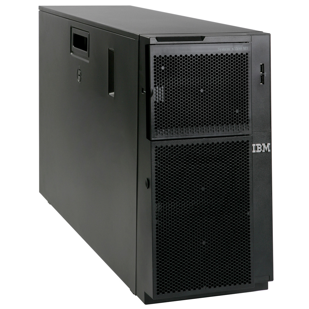 Сервер IBM System x3500 M3 Server   Tower (5U), Xeon 6C E5670 (2.93GHz, 1333MHz, 12MB), 2x4GB, noHDD HS 2.5  SATA, SAS (24up), SR M5015 512MB w, battery (RAID 0, 1, 5, 10, 50), 2xGbE, DVD-R, 1x920W HS PS (2up)